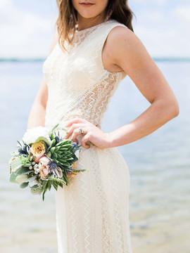 Bridal bouquet shoot on the beach