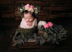 Flower crown and bouquet for newborn shoot