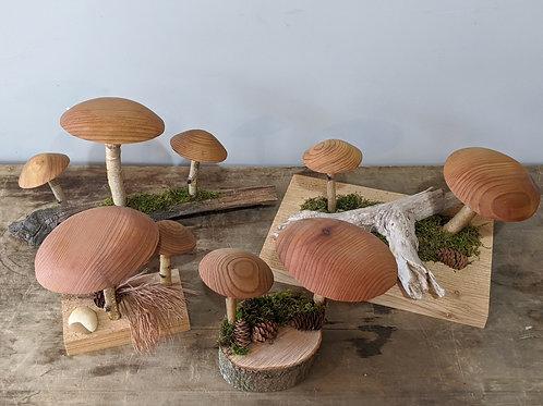 Handmade Wood Mushrooms