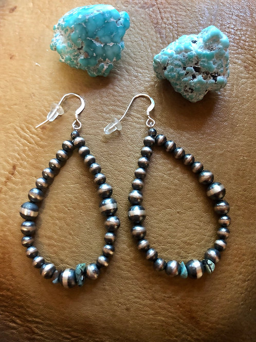 Navajo Pearl & Turquoise Oval Hoop Earrings