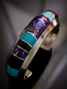 Mojave, Turquoise, Black Jade and Lapis Inlay Cuff