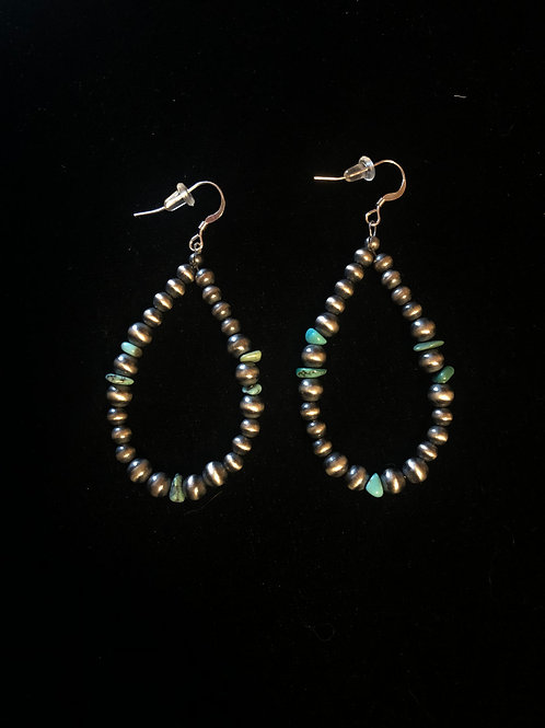 Navajo Pearl Earrings with Turquoise accents