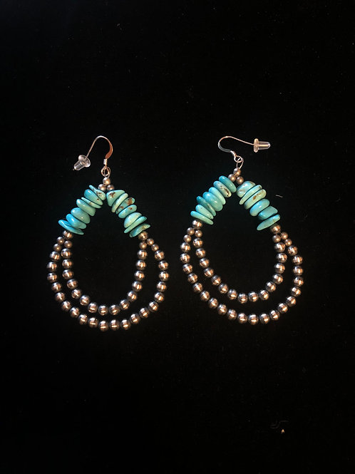 Navajo Pearl Earrings - Double strand with Turquoise