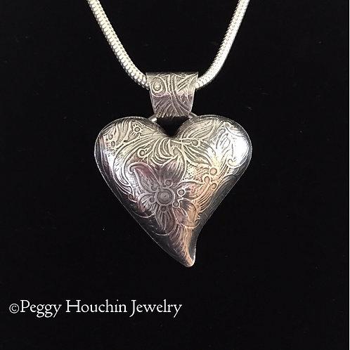 Sterling Silver Patterned Heart