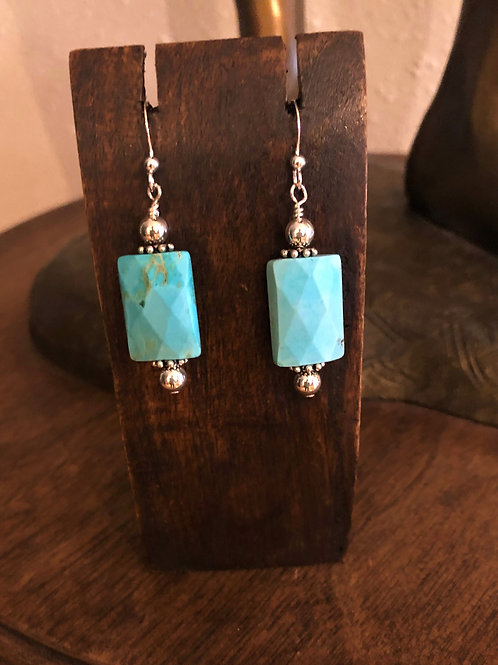 Faceted Turquoise, Sterling Silver Earrings