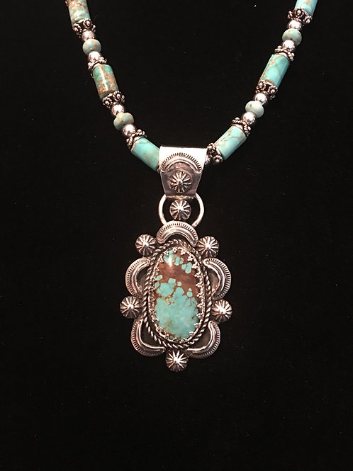 Turquoise Pendant with Stamped Embellishments (Custom Order)