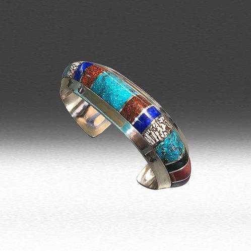 Mixed Stones Inlay Cuff  (Custom Order)