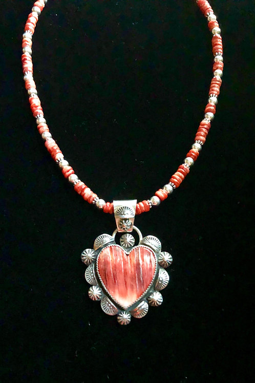 Spiny Oyster Heart Pendant w/ Spiny Oyster Chain (Custom Order)