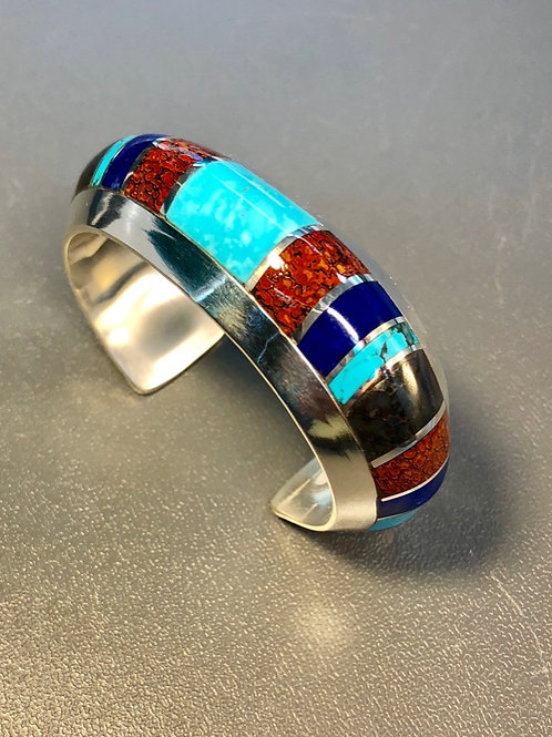 Mixed Stones Inlay Cuff (Custom Order)