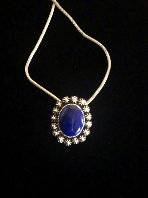 Lapis and Stars Pendant with Sterling Silver Chain (Custom Order)