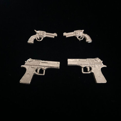 Semi-Automatic, Sterling Silver Pistol Earrings