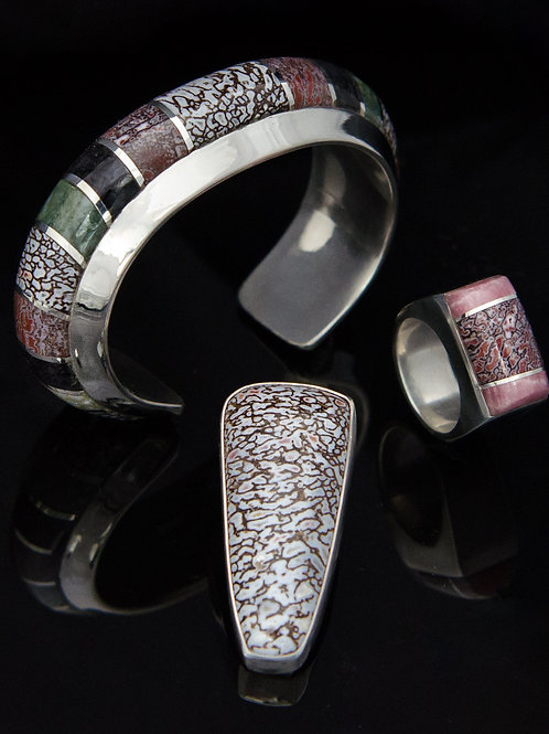 Dinosaur Bone Inlay Cuff, Pendant & Ring Collection (Custom Order)