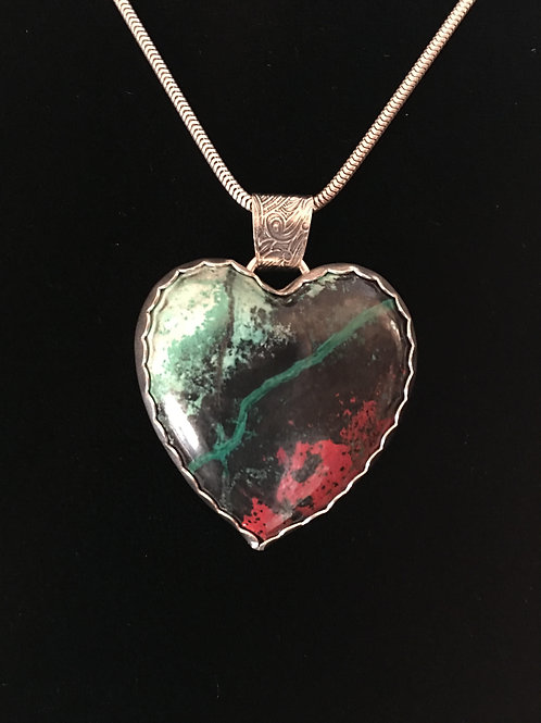 (SOLD)  Sonoran Sunrise Heart Pendant with adjustable chain