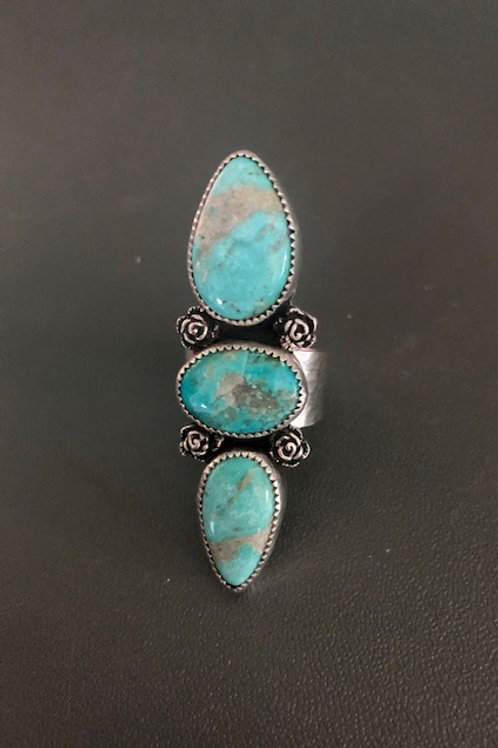 (SOLD) Kingman Turquoise Ring with tiny rose embellishments