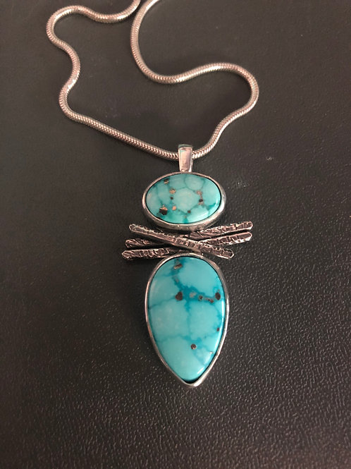 (SOLD) Whitewater Turquoise Pendant