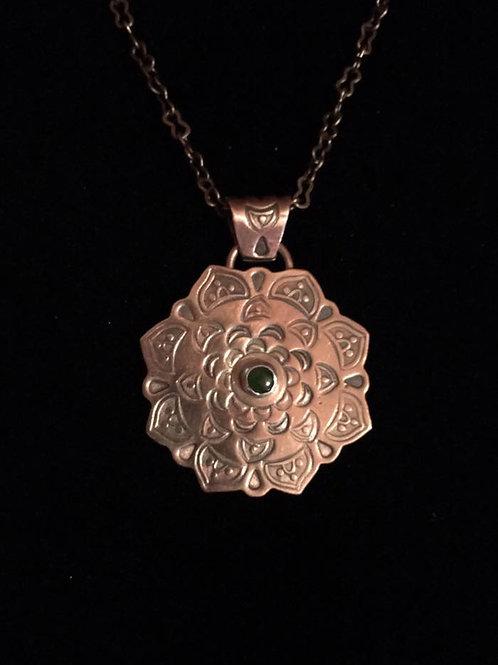 (SOLD)  Copper Mandala Pendant and Copper Chain