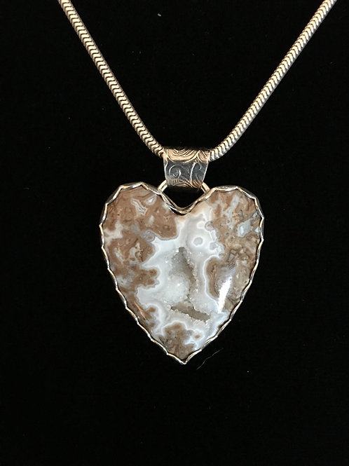 (SOLD)  Blizzard Stone Heart Pendant with adjustable chain