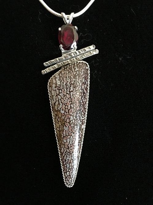 Dinosaur Bone And Garnet Pendant (Custom Order)