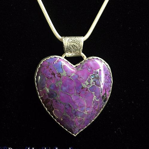 (SOLD)  Mojave Purple Turquoise Heart Pendant
