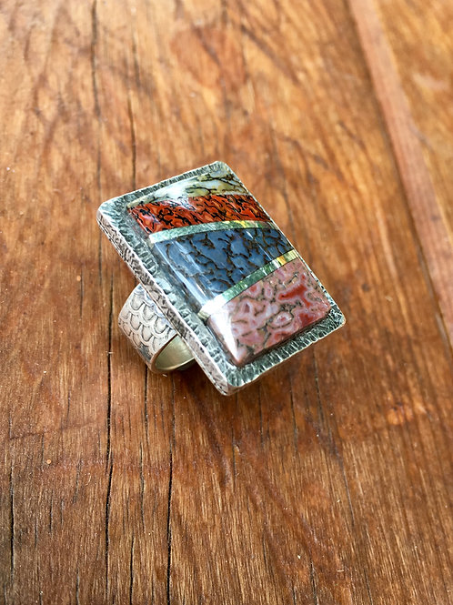 Dinosaur Bone Inlay Ring  (Custom Order)