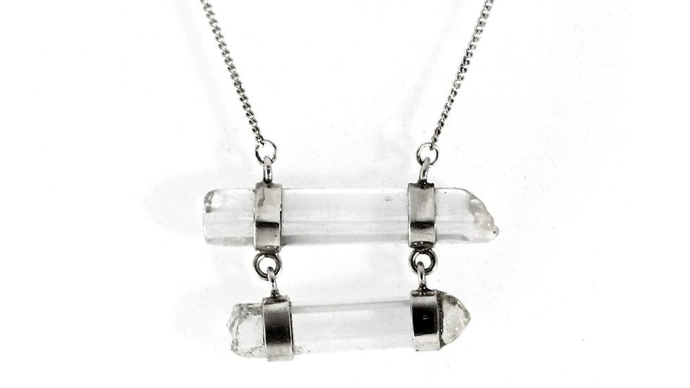 Collar Doble Cuarzo Cristal Horizontal