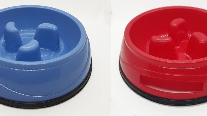 Plato alimentación lenta rojo y azul S