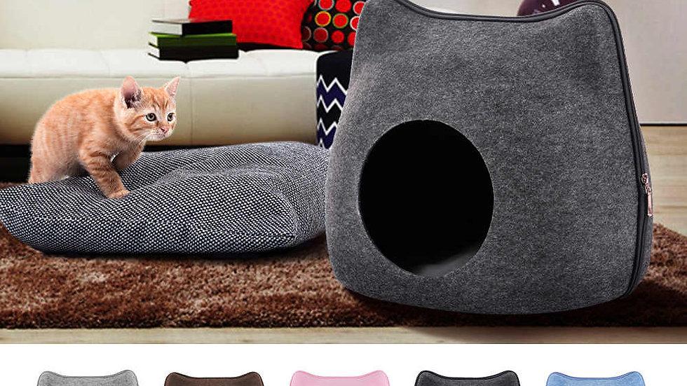Casa de fieltro modelo gato