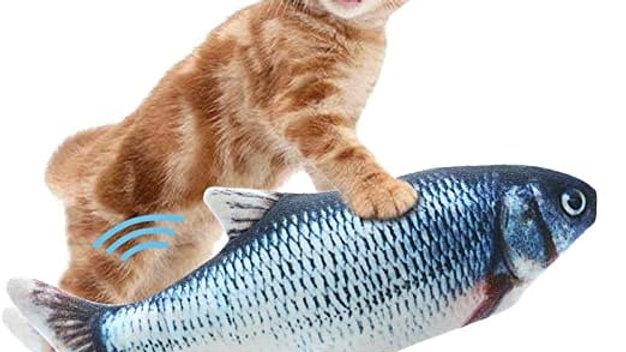 Peluche pez con movimiento y catnip. Cable USB