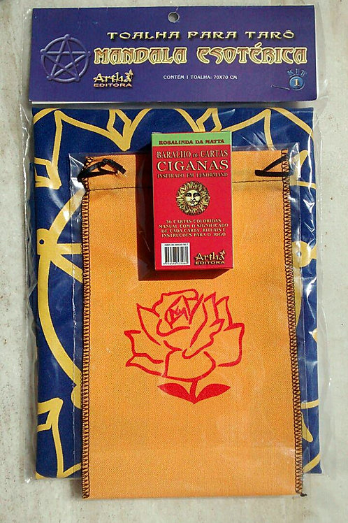 Kit para Cartas Cigana Azul (Toalha, Bolsa e Baralho)
