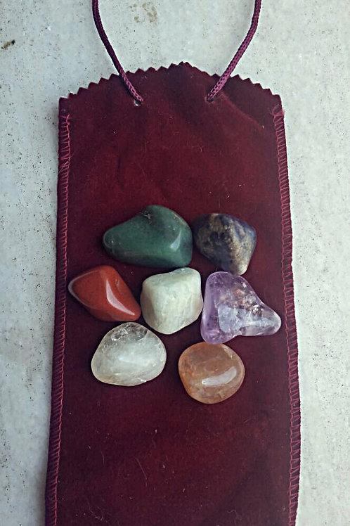 Kit Pedras para os Chakras com Bolsa