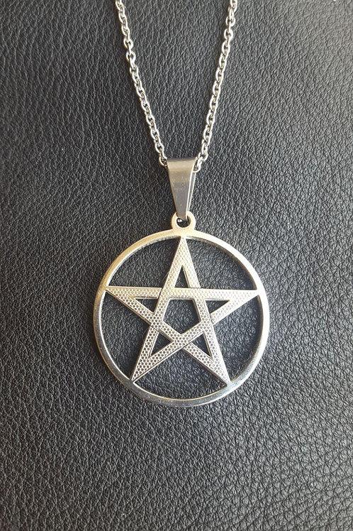 Cordão Pentagrama de Aço