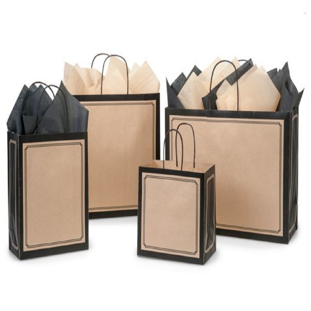 Two-tone kraft shoppers