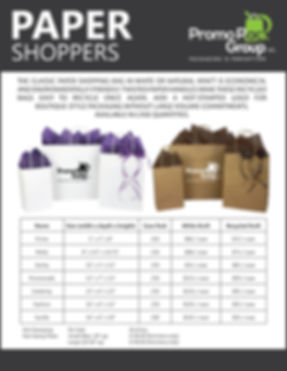 Paper Shoppers Bag Price List NO BOTTOM