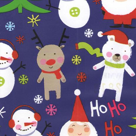 Y3023 Santa Snowmen Blue