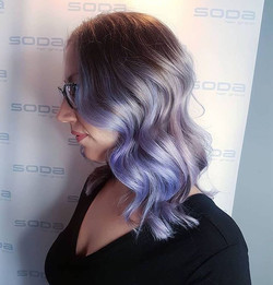 Pastel hair colour and waves by stylist