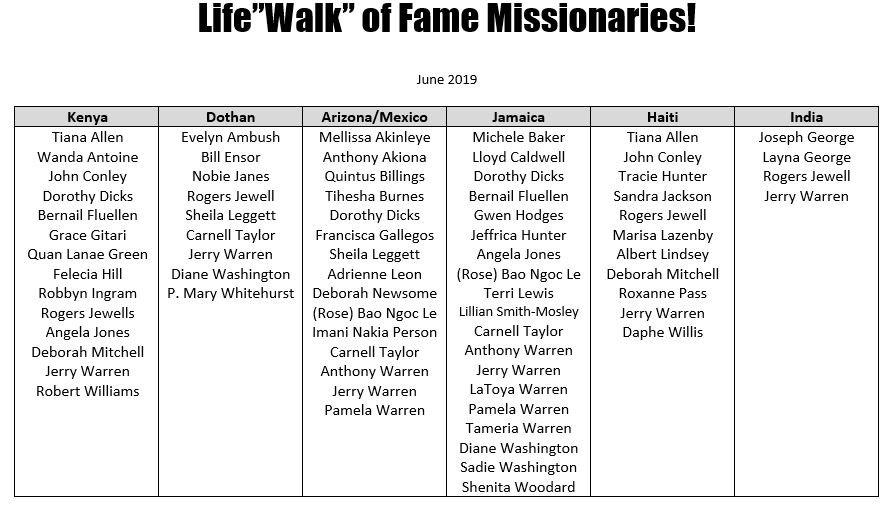 2019 LifeWalk Mission Intl - Walk of Fam