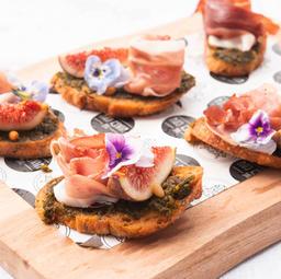 Prosciutto & fig bruschetta, toasted pine nuts, pesto