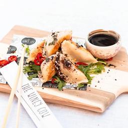 Veg & tofu gyoza, ponzu, fried shallots, chilli oil (vg)