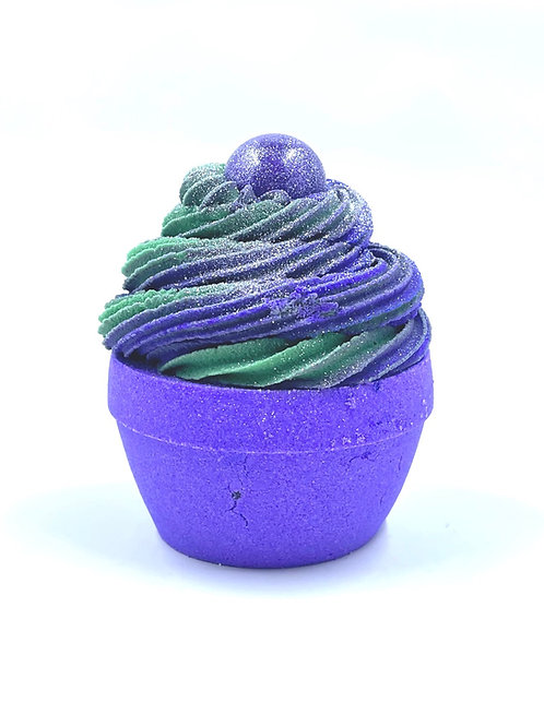 Grape Lime Bubble cupcake bath bomb