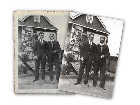 Reparatie van oude antieke foto.