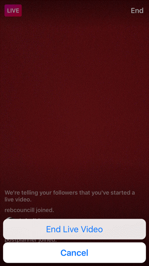 Instagram Live broadcast