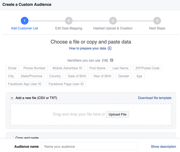 CREATE FACEBOOK AUDIENCE FROM EMAIL LIST