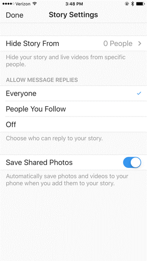 Instagram Story settings before you go live
