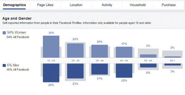 insights into your Facebook custom audience by looking at the different data graphs available