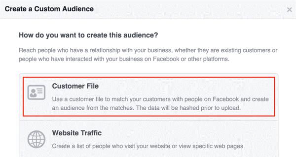 create facebook audience customer file