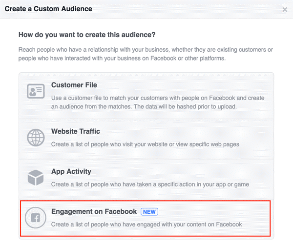 Engagement on Facebook to set up your Facebook custom audience