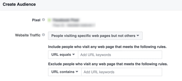 custom audience of people who visit specific pages of your site