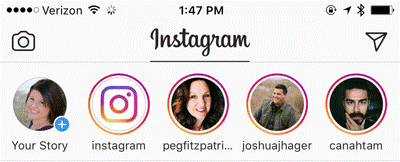 Click the Your Story profile photo to start an Instagram story