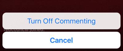 turn off commenting for your live broadcast