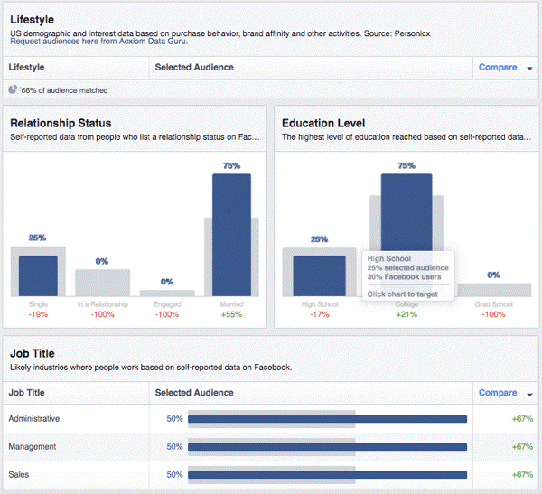 breakdown of Facebook custom audience demographics